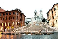 Het lege vierkant van Spanje in Rome in vroege ochtend Royalty-vrije Stock Foto