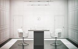 Het lege witte binnenlandse ontwerp van het luxebureau, Stock Afbeeldingen