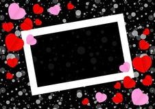 Het lege witte kader en de rode roze hartvorm voor van de de valentijnskaartenkaart van de malplaatjebanner de zwarte achtergrond vector illustratie