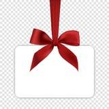 Het lege witte malplaatje van de giftkaart met rode boog Royalty-vrije Stock Foto