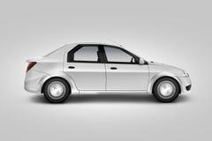 Het lege witte model van het autoontwerp, geïsoleerd, zijaanzicht, het knippen weg, Stock Foto