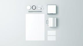 Het lege witte vastgestelde model van de bureaukantoorbehoeften stock illustratie