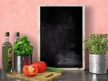 Het lege zwarte 3D bord, geeft terug Stock Fotografie