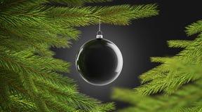 Het lege zwarte de bal van de Kerstmisboom hangen op pijnboommodel royalty-vrije stock foto