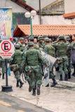 Het leger van Ecuador organiseert het Welkom heten van de Voorzitter Royalty-vrije Stock Foto's