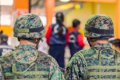 Het leger van Ecuador organiseert het Welkom heten van de Voorzitter royalty-vrije stock afbeelding