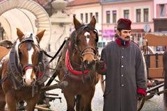 Het leger van paradenapoleon in Vyskov - stalmeester met paarden stock foto's