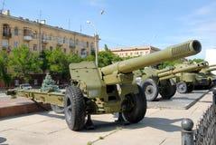 Het legerkanon van het groot-kaliber - de Houwitser. Royalty-vrije Stock Afbeeldingen