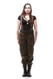 Het legermilitair van de vrouw die op witte achtergrond wordt geïsoleerdi Stock Foto