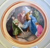 Het leggen van Christus in het graf royalty-vrije stock afbeelding