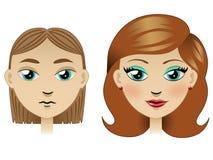 Het lelijke meisje tranformed in mooi meisje Stock Illustratie