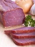 Het lendestuk gerookte close-up van het varkensvlees royalty-vrije stock foto