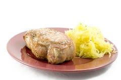 Het lendestuk van het varkensvlees en spaghettipompoen Stock Fotografie