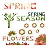 Het lentetijdthema met bloemen en doorbladert vector illustratie