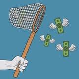 Het lepel-net van de handholding en het vangen van vliegende gevleugelde dollars De bankbiljetten met vleugels gaat naar netto Co royalty-vrije illustratie