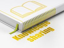 Het leren concept: boekboek, Kennis die op witte achtergrond delen Stock Afbeeldingen