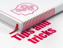 Het leren concept: boekhoofd met Toestellen, Uiteinden en Trucs op witte achtergrond stock illustratie
