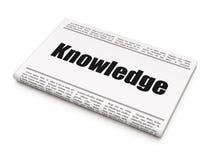 Het leren concept: de Kennis van de krantenkrantekop Royalty-vrije Stock Foto