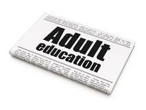 Het leren concept: de Volwassenenvorming van de krantenkrantekop Stock Foto