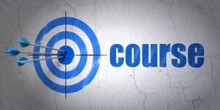 Het leren concept: doel en Cursus op muurachtergrond Stock Afbeeldingen