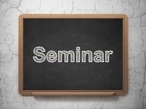 Het leren concept: Seminarie over bordachtergrond Stock Fotografie