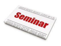 Het leren concept: het Seminarie van de krantenkrantekop Stock Foto's