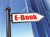 Het leren concept: teken EBook bij de Bouw van achtergrond Stock Foto