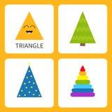 Het leren de vorm van de driehoeksvorm Het glimlachen gezicht Leuk beeldverhaalkarakter Magische de tovenaarhoed van de sparrenke stock illustratie
