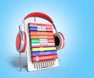 Het leren e -e-boock online 3d de talen geven op gradiënt terug Stock Fotografie