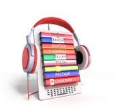 Het leren e -e-boock online 3d de talen geven op wit terug Stock Foto
