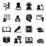 Het leren geplaatste pictogrammen Royalty-vrije Stock Foto
