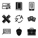 Het leren geplaatste talenpictogrammen, eenvoudige stijl Royalty-vrije Stock Foto's