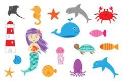Het leren oceaandieren voor kinderen, het spel van het pretonderwijs voor jonge geitjesontwikkeling, peuteraantekenvelactiviteit, stock illustratie
