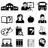 Het leren, school en onderwijspictogrammen Stock Foto's