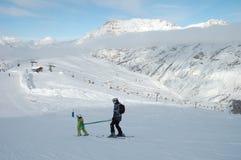 Het leren te skien Stock Afbeelding