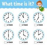 Het leren tijd op de klok Onderwijsactiviteitenaantekenvel voor jonge geitjes en peuters Spel voor kinderen Eenvoudige vlak geïso stock illustratie