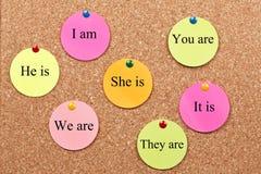 Het leren van Engelse Grammatica op cork raad stock foto's