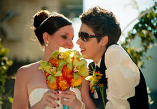 Het lesbische Huwelijk van het Paar bij de Parade van de Regenboog van Toronto