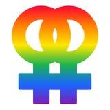 Het lesbische symbool van de paarregenboog, LGBT-vlagvector Stock Afbeeldingen