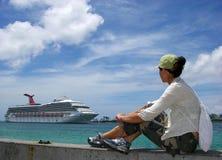 Het letten op de Schepen van de Cruise Stock Foto's