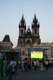 Het letten op Euro 2008 in Praag royalty-vrije stock foto's
