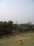 Het letten op Qutub Minar Royalty-vrije Stock Foto's