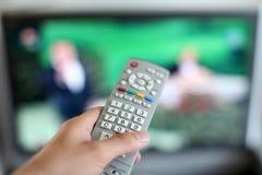 Het letten op TV Stock Foto