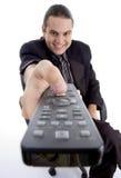 Het letten op van de zakenman televisie Royalty-vrije Stock Foto