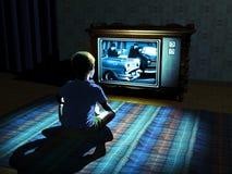 Het letten op van het kind televisie Stock Foto
