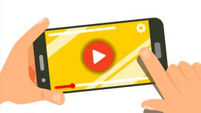 Het letten op Video op Smartphone-Vector Menselijke Handen met Gadget Menucomité Muziek, Film Het de aanrakingsscherm van de ving royalty-vrije illustratie