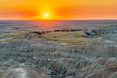 Het letten op Zonsondergang in Badlands-Zuid-Dakota stock foto's