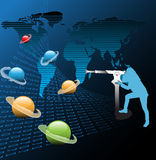 Het letten van de op planeten stock illustratie