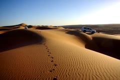 Het letten van de op Zonsondergang bij Wahiba-Zand Stock Foto's