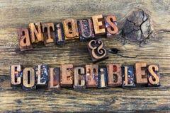 Het letterzetsel van het antiquiteiten collectibles teken royalty-vrije stock foto's